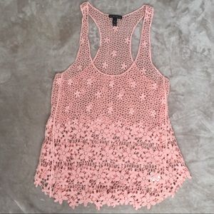 FANG Lace Razor Back Top Women's Peach